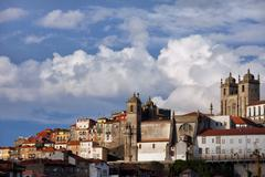 Stock Photo of Old Town Skyline of Oporto in Portugal