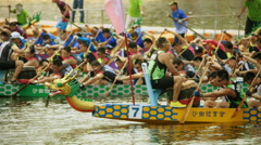 Dragon Boat Races in Hong Kong Stock Footage