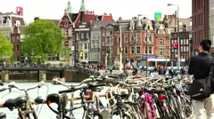 ULTRA HD 4K real time shot,Bicycles parked in row on Amsterdam Stock Footage