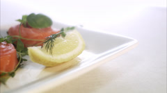 Raw spiced salmon, close-up. Stock Footage