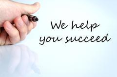 We help you succeed text concept Stock Photos