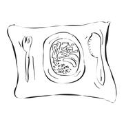 Simple doodle of a dinner plate - stock illustration