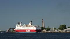 Tallink ferry leaving Riga Latvia Stock Footage