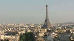 Eiffel Tower the most famous attraction in Paris, panorama over Paris city Stock Footage