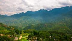 Sa Pa - June 2015: Time lapse of lush valley with rice terraces. 4K resolution. Stock Footage