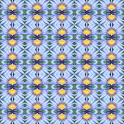 Blue Lotus in full bloom seamless - stock illustration