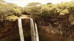 Aerial Shoot waterfall Wailua falls in Wailua River State Park. Hawaii. Kaua'i. Stock Footage