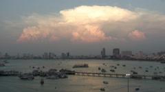 Sunset at marina Bali Hai Pier, South Pattaya, Thailand - stock footage