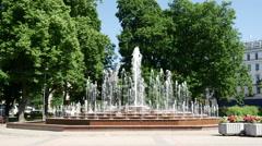 Fountain downtown Riga Latvia Stock Footage