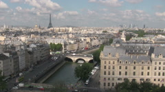 Aerial view of the City of Paris with the Eiffel Tower in the distance. Stock Footage
