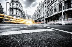 MADRID - SEPTEMBER 08: view of Gran Via street on September 08, 2013 in Madri - stock photo
