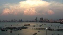 Sunset at marina Bali Hai Pier, South Pattaya, Thailand Stock Footage