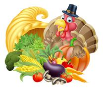 Thanksgiving Turkey and Cornucopia Stock Illustration