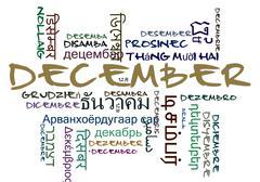 Stock Illustration of December multilanguage wordcloud background concept