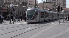 Jerusalem Light Rail tram in Jerusalem, Israel Stock Footage
