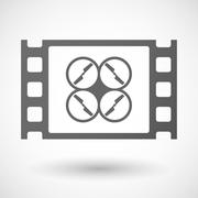 Stock Illustration of 35mm film frame with a drone