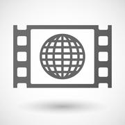 Stock Illustration of 35mm film frame with a world globe