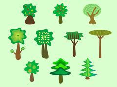 Trees ecology nature Park set - stock illustration