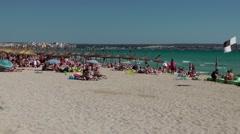 Spain Mallorca Island Playa de Palma 003 wide sandy beach area Stock Footage