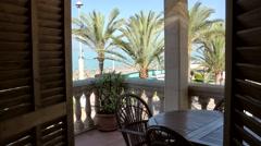 Spain Mallorca Island Playa de Palma 008 terrace of vacation apartmant at beach Stock Footage