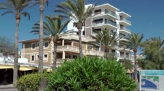 Spain Mallorca Island Playa de Palma 016 holiday flat buildings at the promenade Stock Footage
