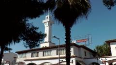 Spain Mallorca Island Playa de Palma 022 RIU Palace discotheque with clock tower Stock Footage