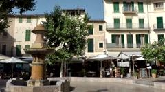 Spain Mallorca Island Sóller 009 fountain on old town marketplace - stock footage
