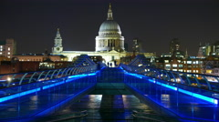Fantastic night time lapse of Millennium Bridge and St. Paul's London in 4k Stock Footage