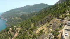 Stock Video Footage of Spain Mallorca Island various 017 curvy coast road and landscape