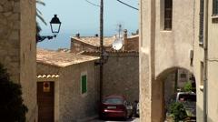 Spain Mallorca Island various 025 quiet street in the village Estellencs Stock Footage
