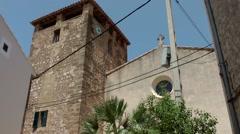 Spain Mallorca Island various 027 church of the village Estellencs Stock Footage