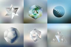Set of Polygon patterns with the reflection, minimalistic geometric facet Stock Illustration