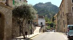 Spain Mallorca Island various 029 village Estellencs; main street and mountain Stock Footage