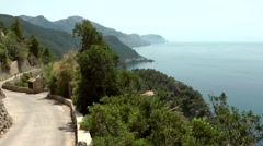 Spain Mallorca Island various 036 west coastline from viewpoint Torre Mirador Stock Footage