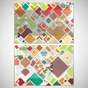 Vector set of tri-fold brochure design template on both sides with world globe Stock Illustration