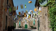 Spain Mallorca Island various 039 colorful decorated village Deia Stock Footage