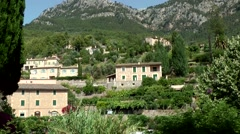 Spain Mallorca Island various 049 village Deia; houses at hillside in a valley Stock Footage