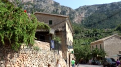 Spain Mallorca Island various 052 idyllic street view in Deia village Stock Footage