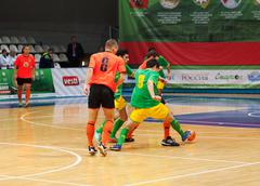 Stock Photo of Azerbaijan team (G) and MGKFS team (O)