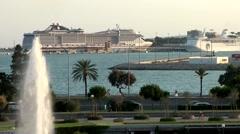 Spain Palma de Mallorca 120 Italian cruise ship MSC Divina in harbor Stock Footage