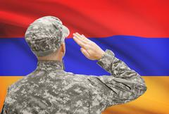 National military forces with flag on background conceptual series - Armenia Stock Photos