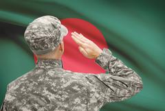 National military forces with flag on background conceptual series - Banglade - stock photo