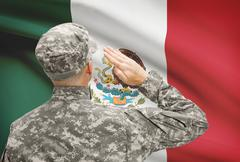 National military forces with flag on background conceptual series - Mexico - stock photo