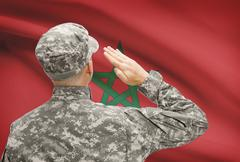 National military forces with flag on background conceptual series - Morocco Stock Photos