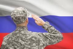 National military forces with flag on background conceptual series - Russia - stock photo