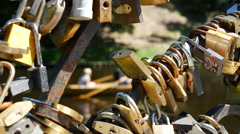 Love locks at a bridge in the Bastion Hill Park Stock Footage