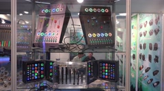 4k New colorful blinking sound mixer audio equipment Stock Footage