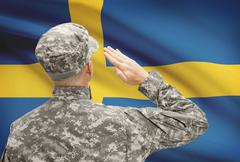 Stock Photo of National military forces with flag on background conceptual series - Sweden