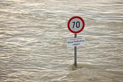 Flooded street - stock photo