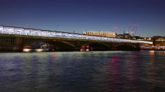 Stock Video Footage of Great day to night time-lapse of new Blackfriars station over River Thames in 4k
